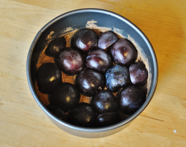 Plums pushed into the creamed butter and sugar