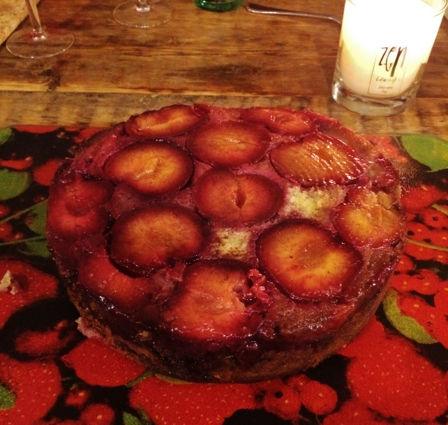 Upside down spiced plum cake with vanilla sponge