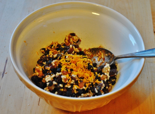 Adding orange zest and brandy to the homemade mincemeat