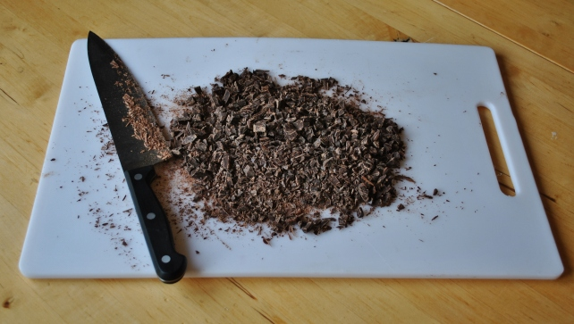 Chopped dark chocolate for sea salt and brandy truffles