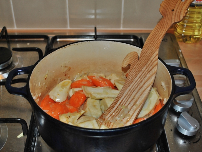 Adding carrots and parsnips to the onion