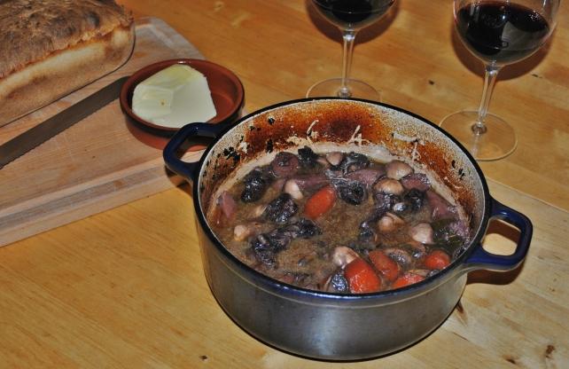 Beef shin, mushroom and parsnip casserole