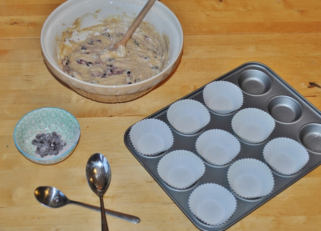 Homemade blueberry muffin mixture ready to be spooned into cases