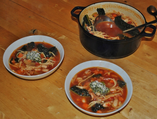 Homemade hearty minestrone soup for two