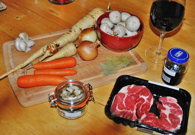 Ingredients for beef shin and mushroom casserole with parsnips