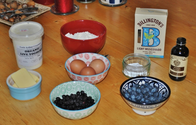 Ingredients for homemade blueberry muffins