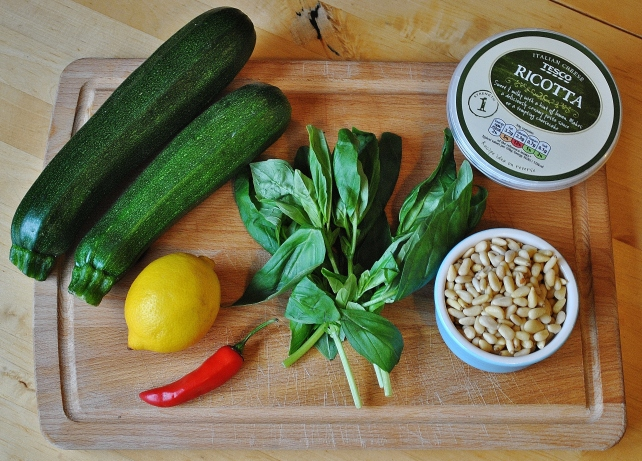 Ingredients for Italian courgette rolls