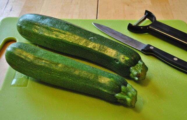 Two small courgettes for Italian courgette rolls