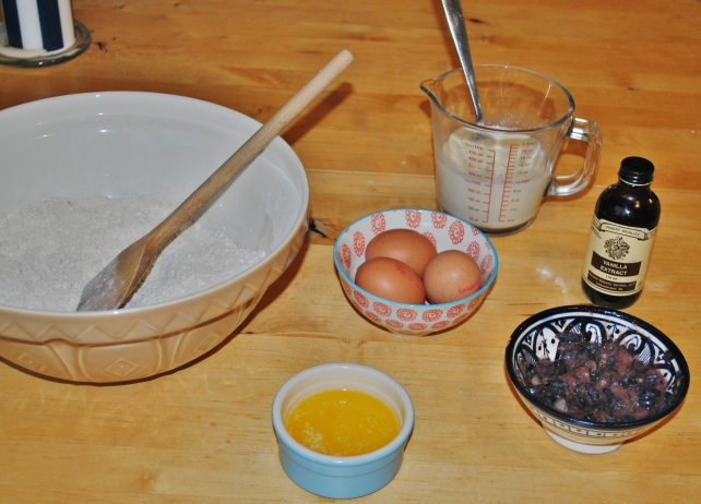 Wet ingredients for homemade blueberry muffins