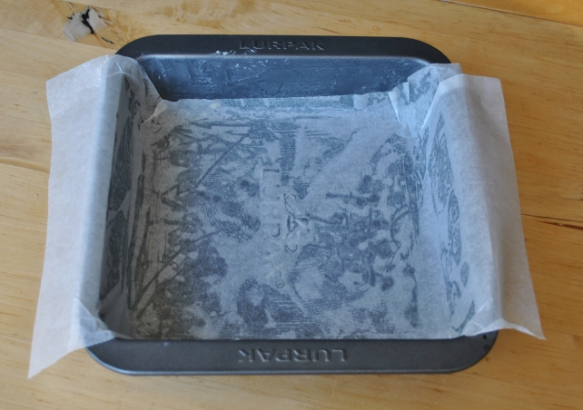 Greasing and lining a 20x20cm cake tin