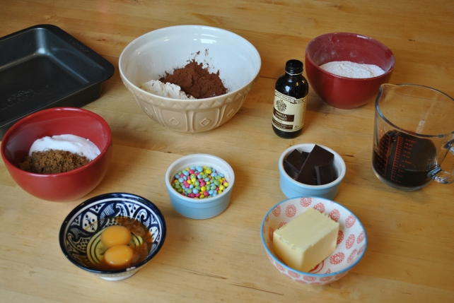 Ingredients for chocolate and red wine celebration cake