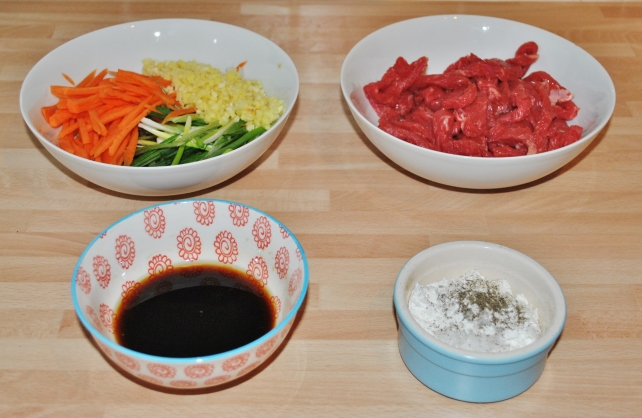 Preparing all the ingredients for ginger beef before cooking