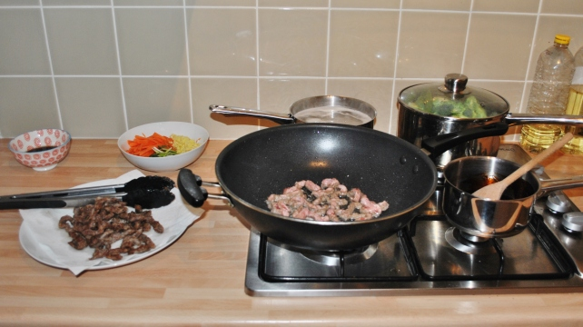 Stir-frying the ginger beef