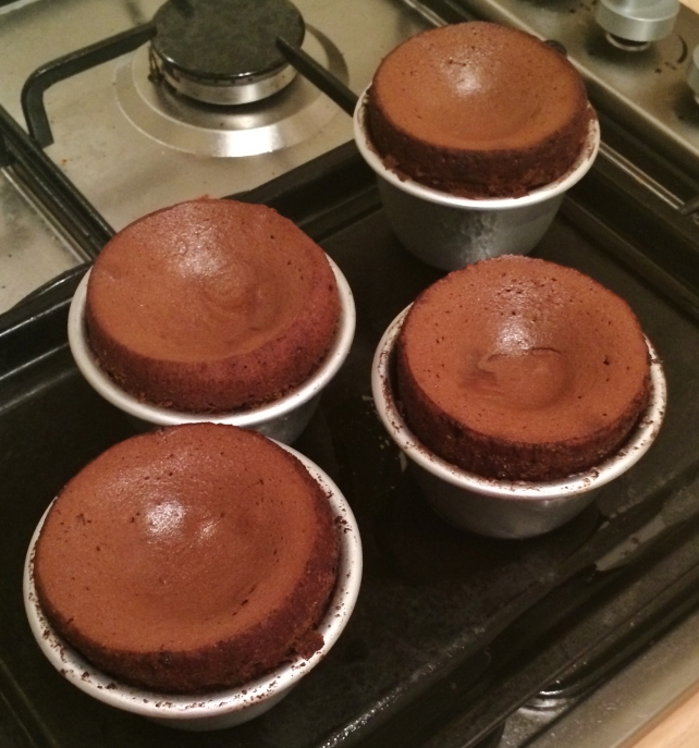 Chocolate fondants after baking