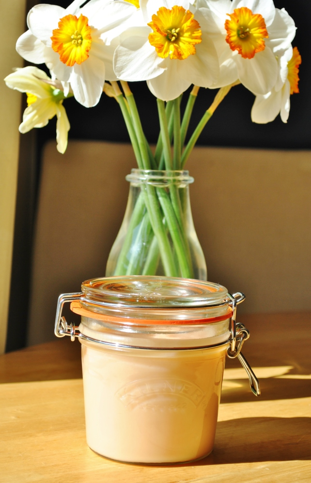 Homemade rhubarb curd and daffodils