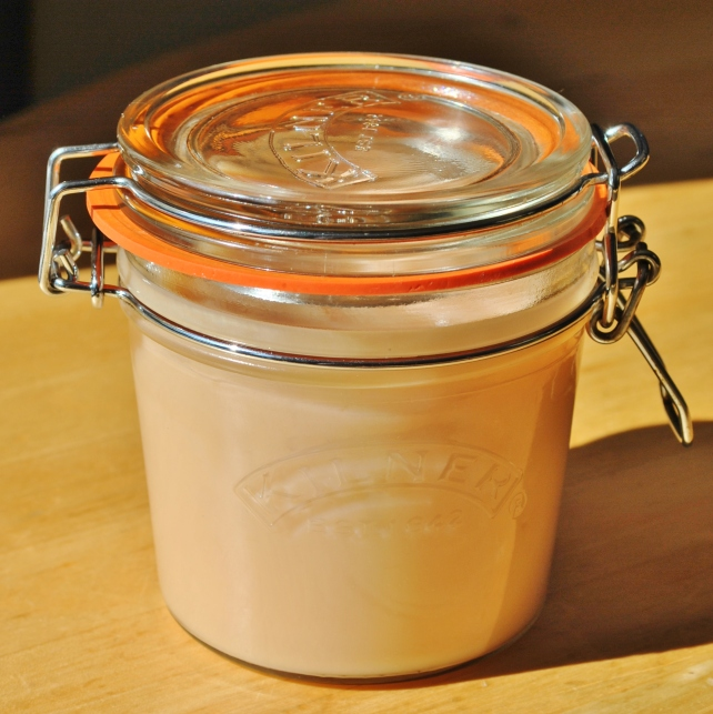 Homemade rhubarb curd in a Kilner jar