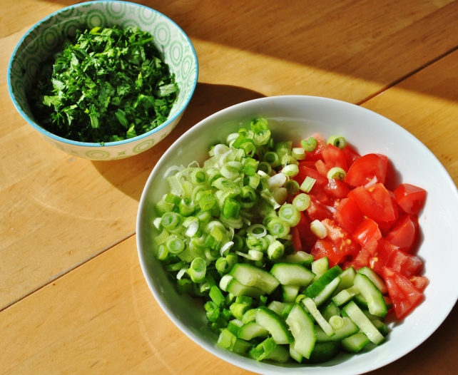 Chopped vegetables for tabbouleh salad