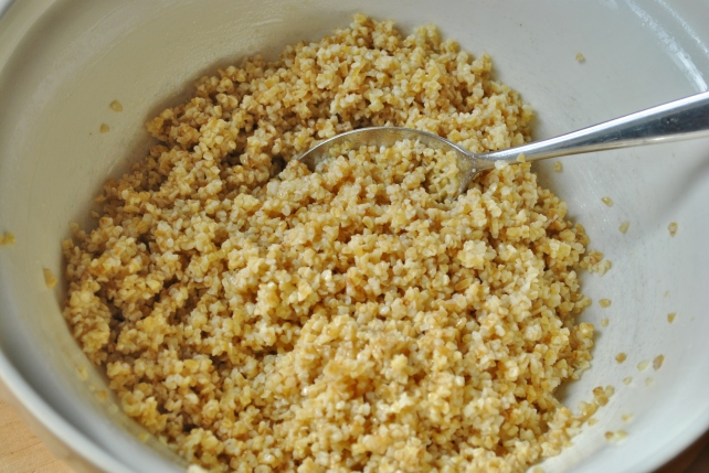 Soaked bulgar wheat with garlic, lemon juice and olive oil