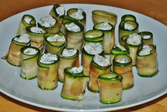 Courgette antipasto rolls