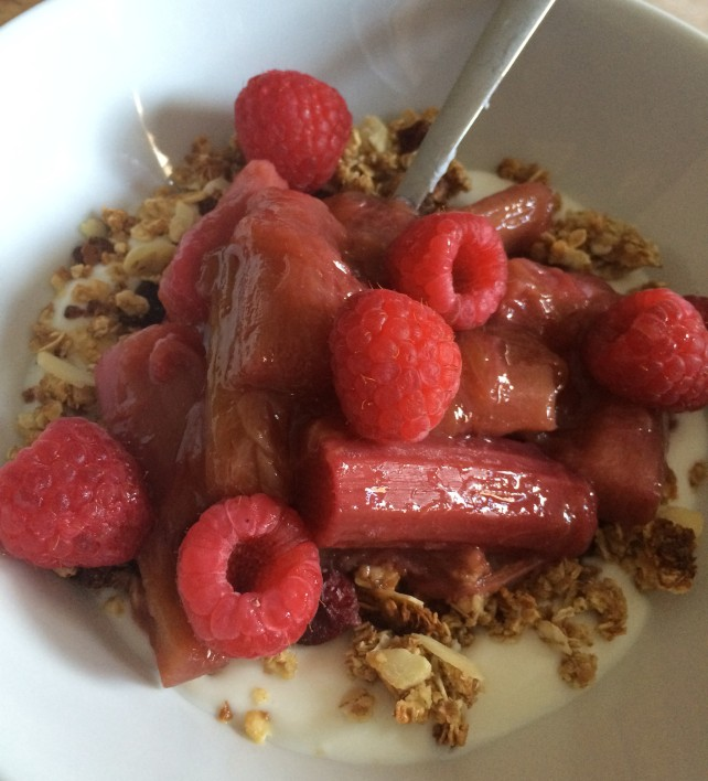 Homemade fruit and nut granola with yogurt, raspberries and stewed rhubarb
