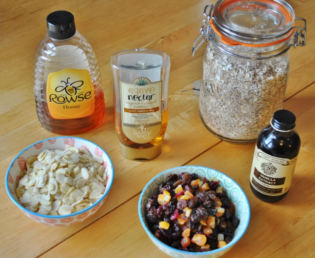 Ingredients for homemade fruit and nut granola