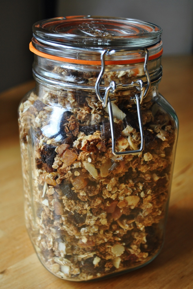 Jar of homemade fruit and nut granola
