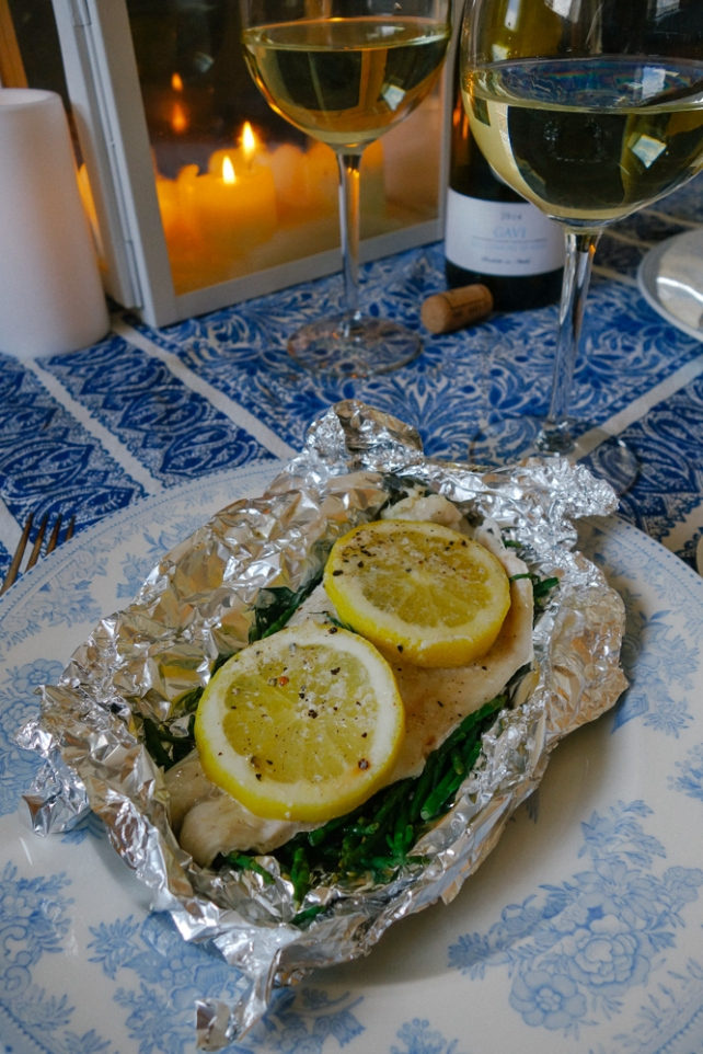 Seabass and samphire parcels