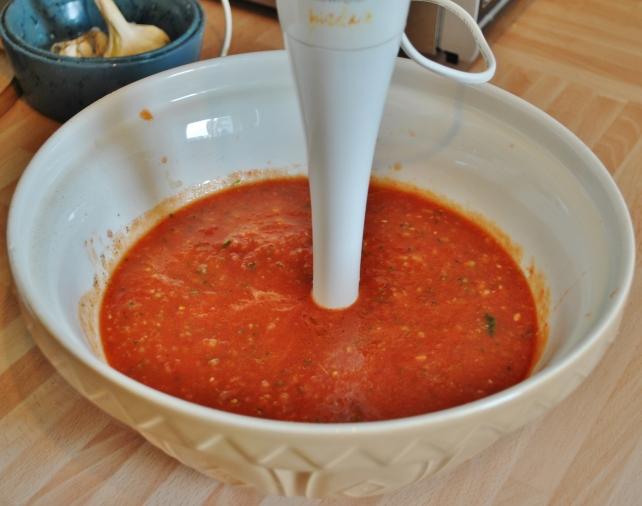 Blending the gazpacho soup