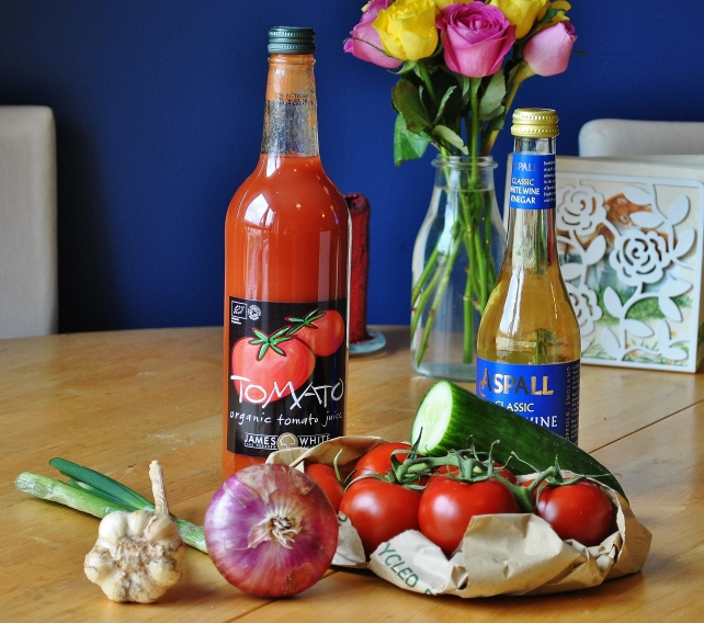 Ingredients for homemade gazpacho