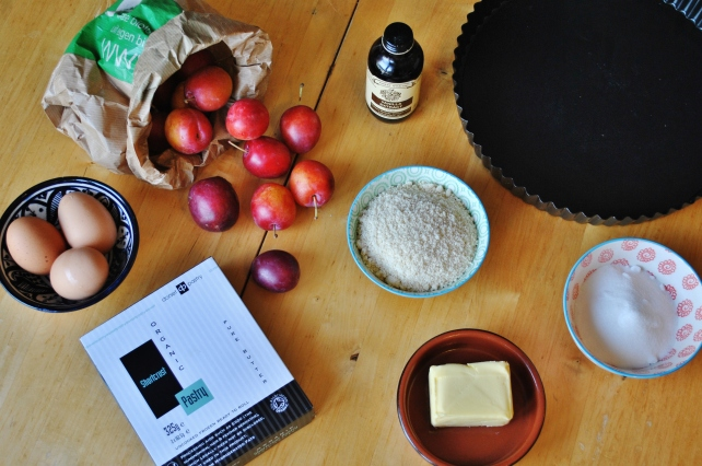 Ingredients for plum and frangipane tart