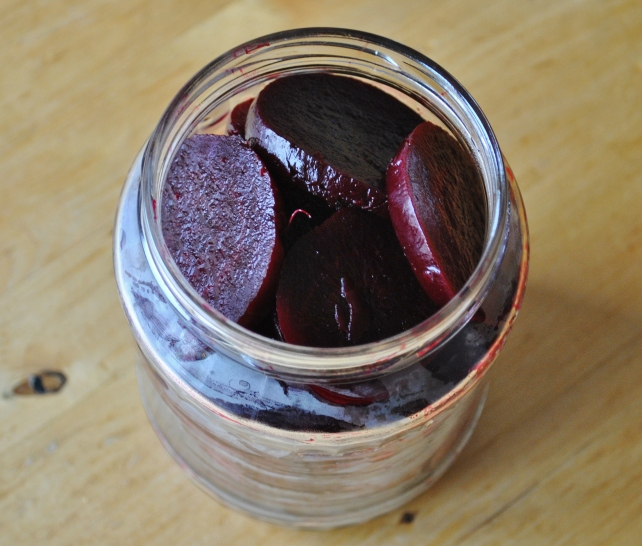 Thickly sliced beetroots