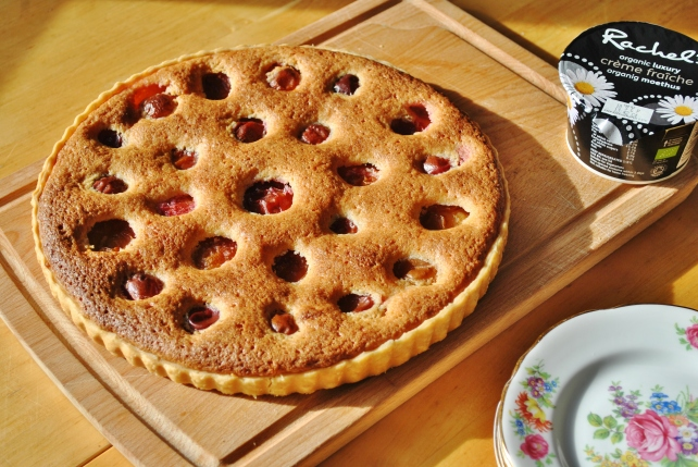 Victoria plum and frangipane tart served with creme fraiche 1