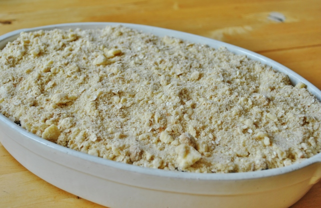 Autumn fruit crumble ready to bake