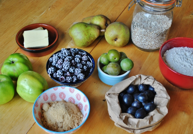 Ingredients for seasonal autumn fruit crumbe