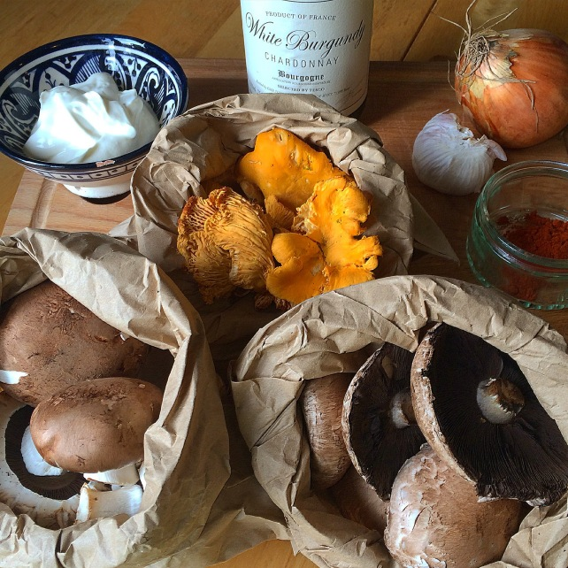 Ingredients for wild mushroom stroganoff