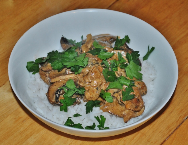 Mushroom stroganoff served with fresh coriander