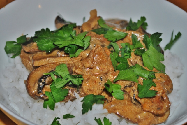 Mushroom stroganoff served with rice and fresh coriander