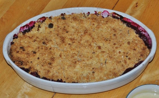 Seasonal autumn fruit crumble