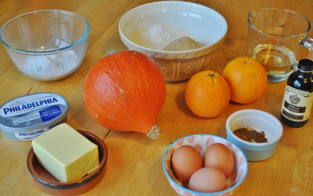 Ingredients for spiced pumpkin cupcakes