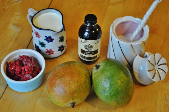 Ingredients for homemade mango ice-cream with raspberry ripple