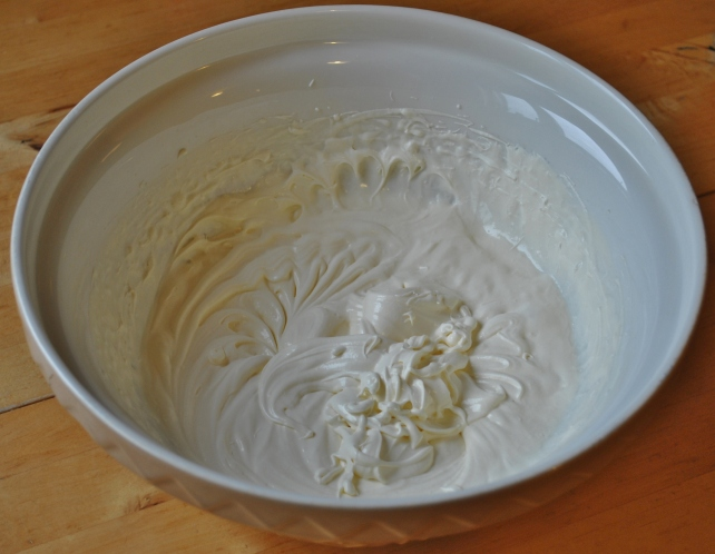 Whipped double cream, caster sugar and vanilla extract