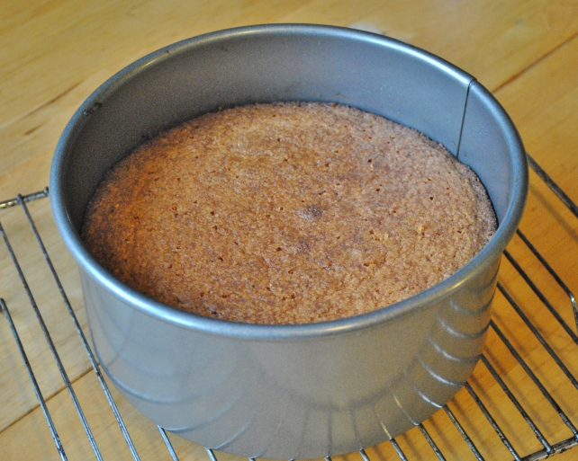 Gluten-free orange cake after baking