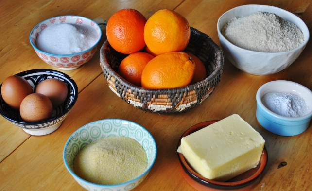 Ingredients for gluten-free orange drizzle cake