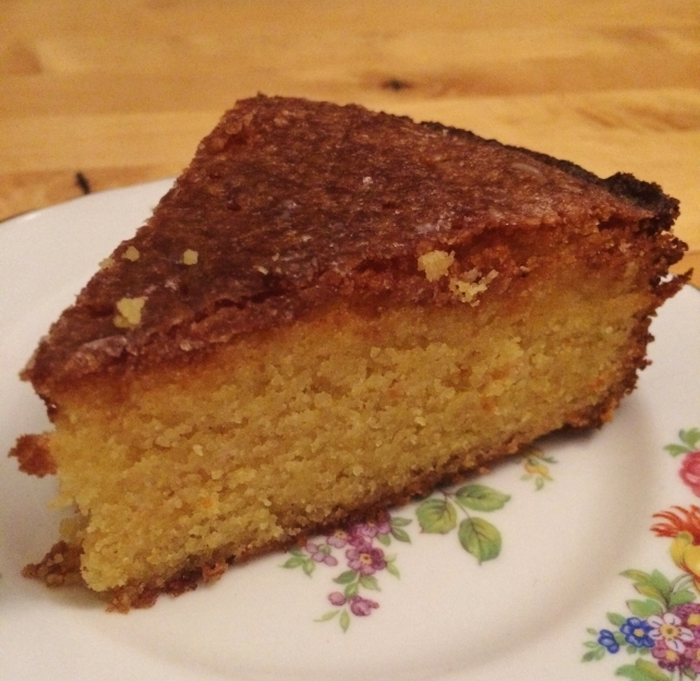 Slice of gluten-free orange drizzle cake