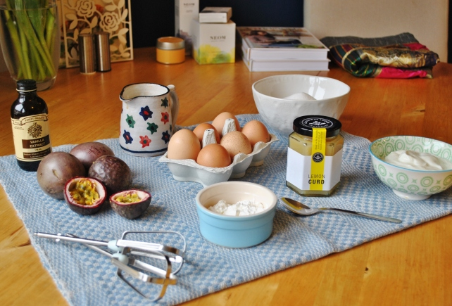 Ingredients for lemon curd and passion fruit pavlova