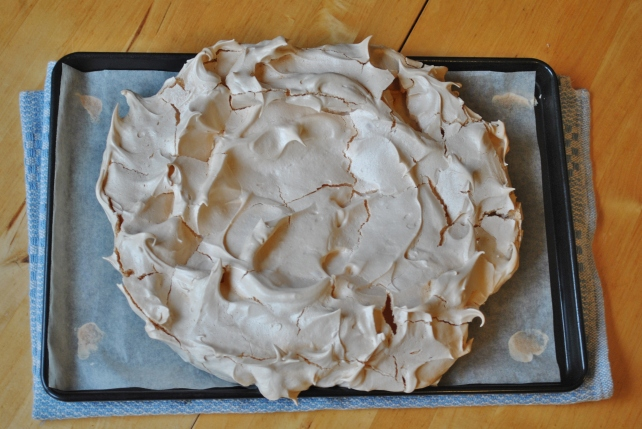 Pavlova after baking and cooling in the oven
