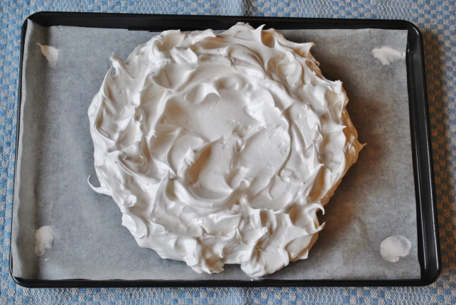 Pavlova ready to be baked in the oven