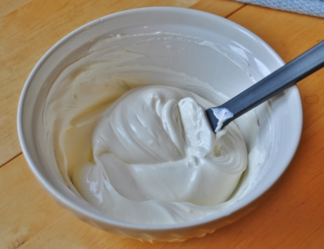 Whipped double cream mixed with greek yogurt