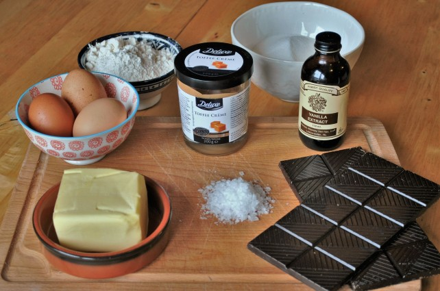 Ingredients for salted caramel brownies