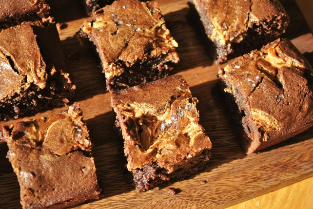 Salted toffee or caramel brownies